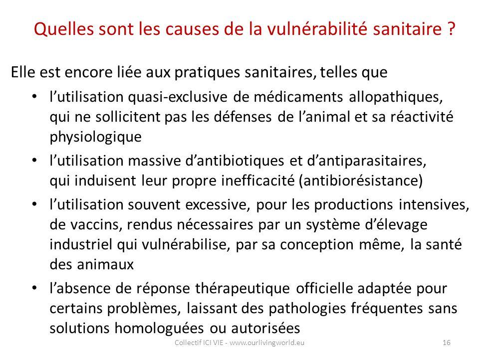 Quelles sont les causes de la vulnérabilité sanitaire ? Elle est encore liée aux pratiques sanitaires, telles que l'utilisation quasi-exclusive de méd