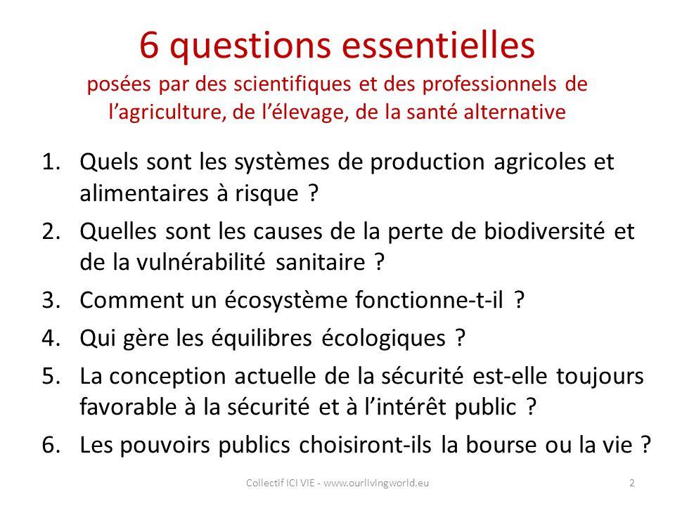 6 questions essentielles posées par des scientifiques et des professionnels de l'agriculture, de l'élevage, de la santé alternative 1.Quels sont les s