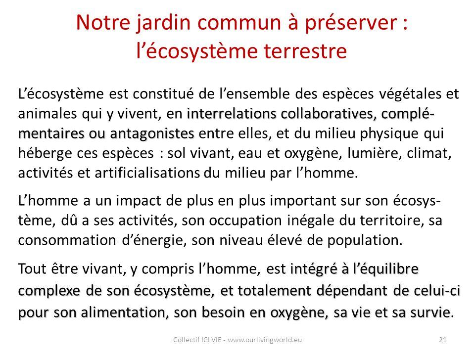 Notre jardin commun à préserver : l'écosystème terrestre interrelations collaboratives, complé- mentaires ou antagonistes L'écosystème est constitué d