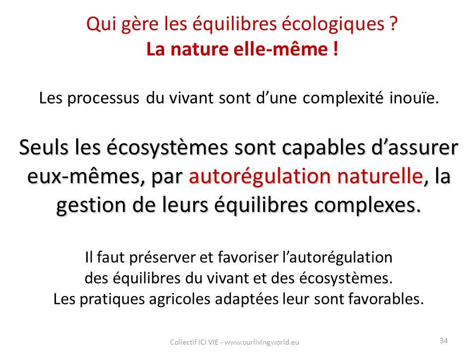 Qui gère les équilibres écologiques ? La nature elle-même ! Les processus du vivant sont d'une complexité inouïe. Seuls les écosystèmes sont capables