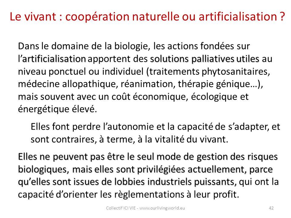 Le vivant : coopération naturelle ou artificialisation ? artificialisationsolutions palliatives utiles Dans le domaine de la biologie, les actions fon