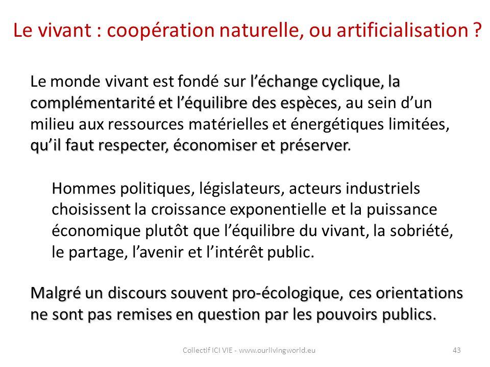 Le vivant : coopération naturelle, ou artificialisation ? l'échange cyclique, la complémentarité et l'équilibre des espèces qu'il faut respecter, écon