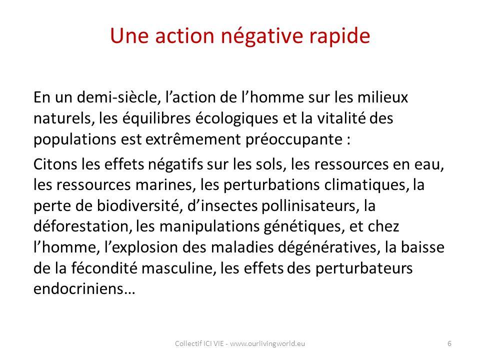 Une action négative rapide En un demi-siècle, l'action de l'homme sur les milieux naturels, les équilibres écologiques et la vitalité des populations
