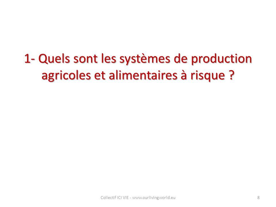 1- Quels sont les systèmes de production agricoles et alimentaires à risque ? Collectif ICI VIE - www.ourlivingworld.eu8