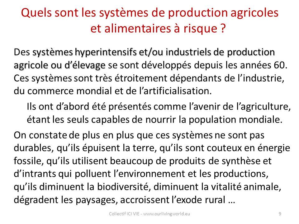 Quels sont les systèmes de production agricoles et alimentaires à risque ? systèmes hyperintensifs et/ou industriels de production agricole ou d'éleva
