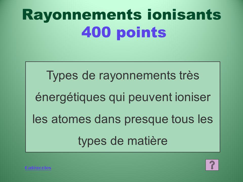 Catégories Qu'est-ce qu'un rayonnement ionisant? Rayonnements ionisants 200 points