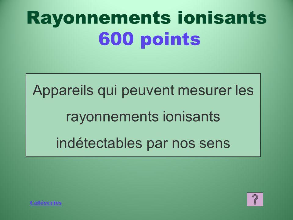 Catégories Que sont les rayons X et les rayons gamma? Rayonnements ionisants 400 points