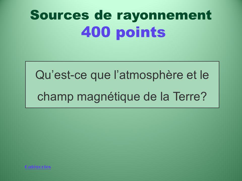 Catégories Deux éléments qui nous protègent contre les rayonnements ionisants générés par le Soleil Sources de rayonnement 400 points