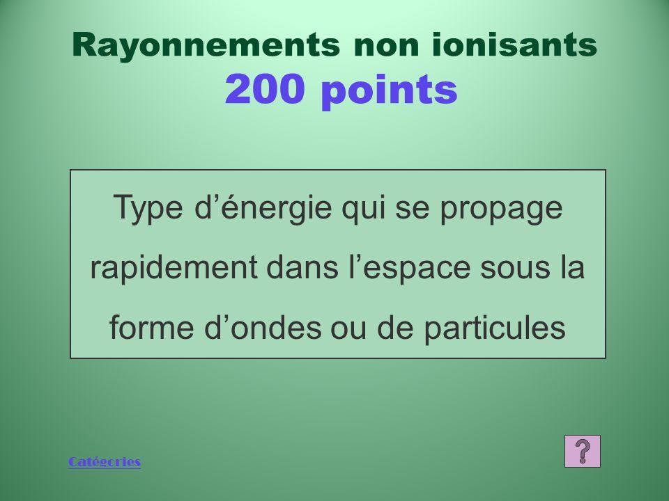Catégories 1 000 800 600 400 200 Jeopardy Final DÉSINTÉ- GRATION RADIOACTIVE DEMI-VIE SOURCES DE RAYONNE- MENTS RAYONNE- MENTS IONISANTS RAYONNE- MENT