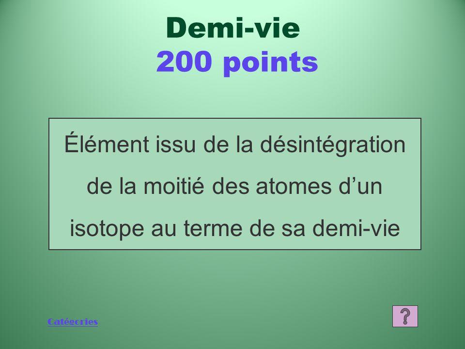 Catégories Que sont l'uranium 238, le potassium 40, le thorium 232 ou le carbone 14? (accepter deux de ces réponses) Sources de rayonnement 1 000 poin