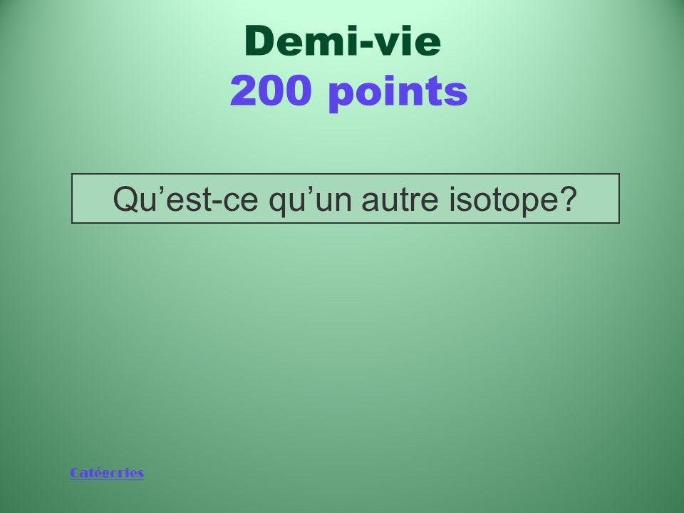 Catégories Élément issu de la désintégration de la moitié des atomes d'un isotope au terme de sa demi-vie Demi-vie 200 points