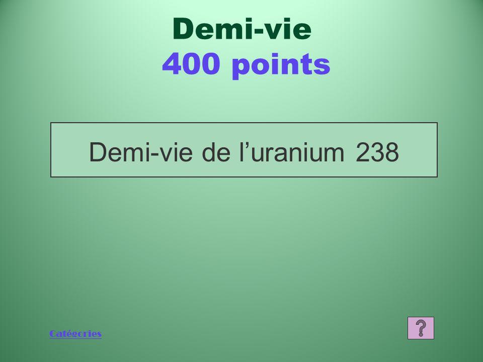 Catégories Qu'est-ce qu'un autre isotope? Demi-vie 200 points