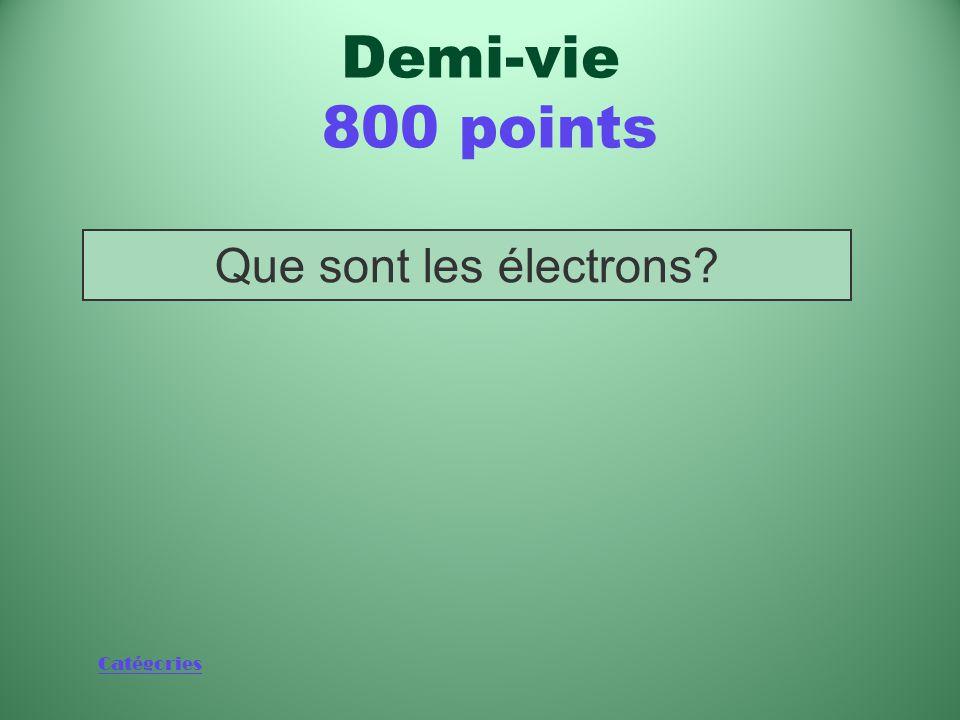 Catégories Autre nom des particules bêta Demi-vie 800 points