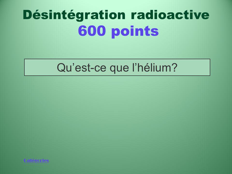 Catégories Élément dont le noyau est l'équivalent d'une particule alpha Désintégration radioactive 600 points