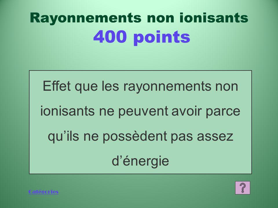 Catégories Qu'est-ce que le rayonnement? Rayonnements non ionisants 200 points