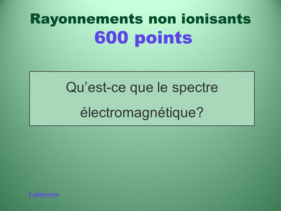 Catégories Spectre où les rayonnements non ionisants occupent l'extrémité à faible énergie Rayonnements non ionisants 600 points