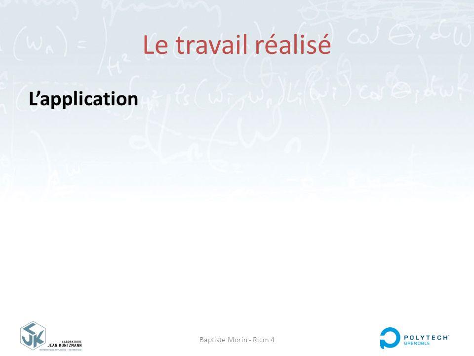 Baptiste Morin - Ricm 4 Le travail réalisé L'application