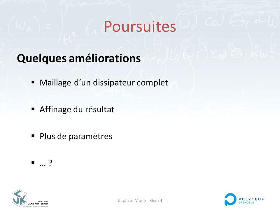Baptiste Morin - Ricm 4 Poursuites Quelques améliorations  Maillage d'un dissipateur complet  Affinage du résultat  Plus de paramètres  … ?