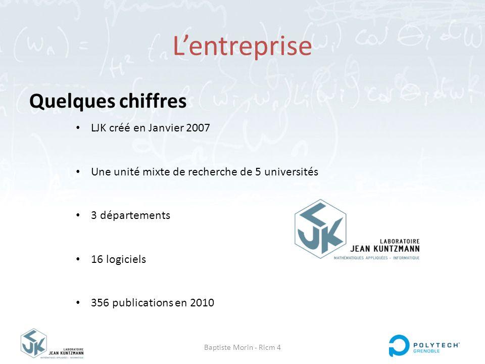 Baptiste Morin - Ricm 4 L'entreprise Quelques chiffres LJK créé en Janvier 2007 Une unité mixte de recherche de 5 universités 3 départements 16 logici