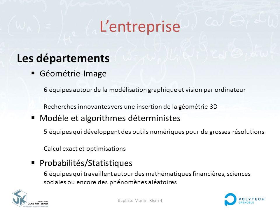 Baptiste Morin - Ricm 4 L'entreprise Mon équipe : EDP  Deux disciplines  Trois applications Analyse fonctionnelle & équations aux dérivées partielles Analyse numérique & calcul scientifique Modélisation en biologie Mécanique des fluides Modélisation physique