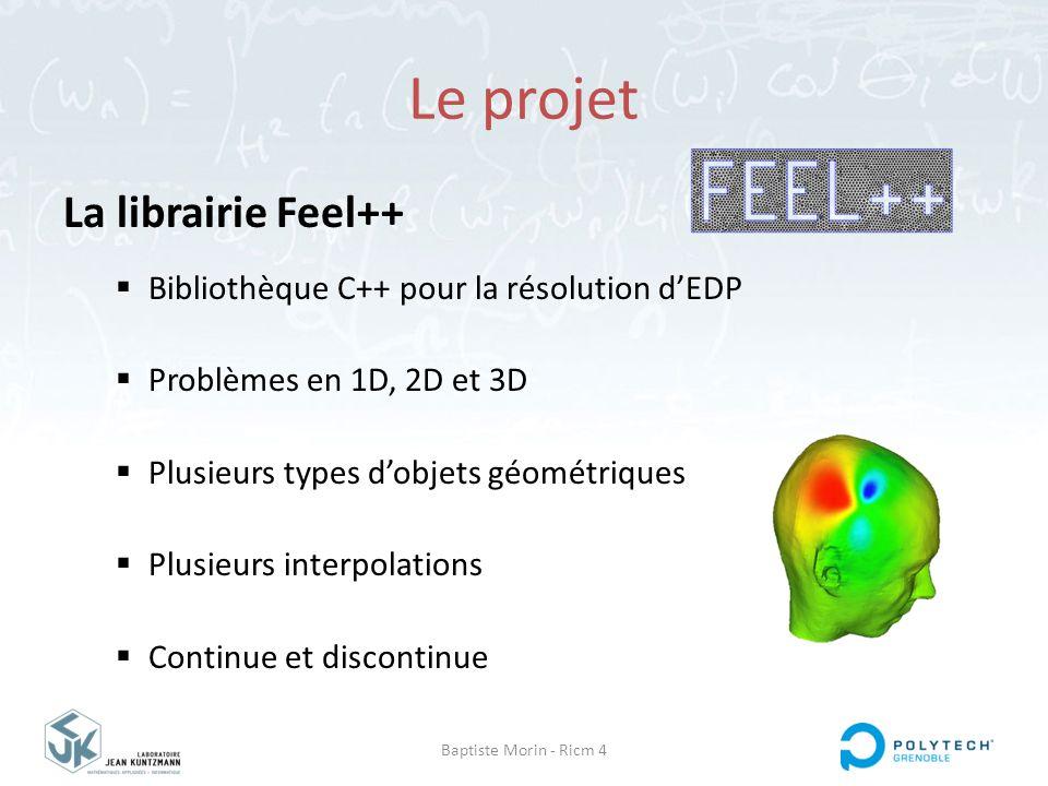 Baptiste Morin - Ricm 4 Le projet La librairie Feel++  Multi plateformes  Propre langage intégré  Intégrée à Debian  Etat: diffusé & stable  Version actuelle : 0.9.23