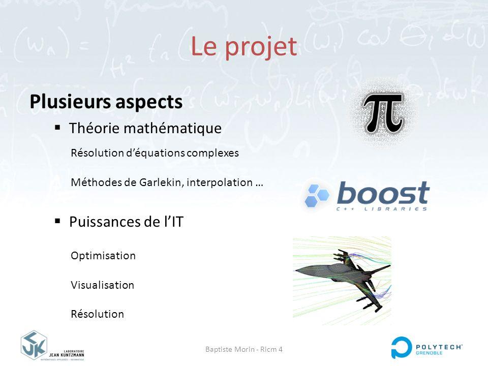 Baptiste Morin - Ricm 4 Le projet Plusieurs aspects  Théorie mathématique  Puissances de l'IT Résolution d'équations complexes Méthodes de Garlekin,