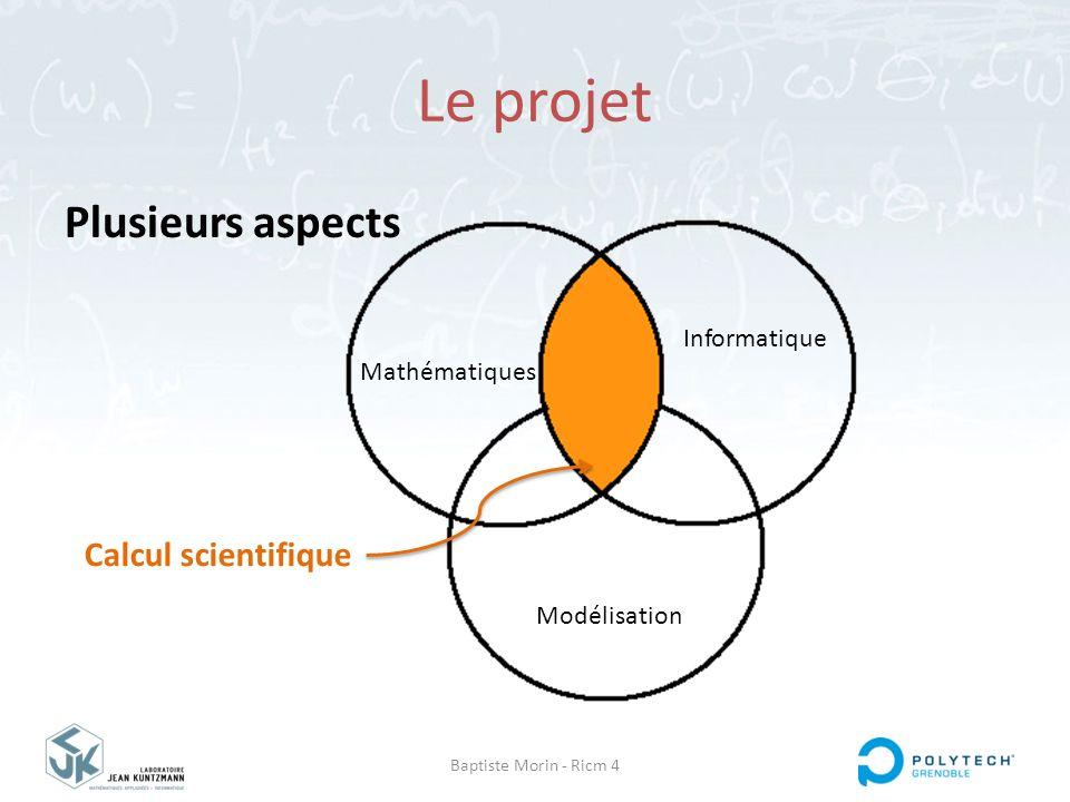Baptiste Morin - Ricm 4 Le projet Plusieurs aspects Informatique Modélisation Mathématiques Calcul scientifique