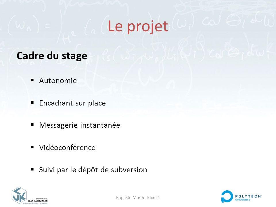 Baptiste Morin - Ricm 4 Le projet Cadre du stage  Autonomie  Encadrant sur place  Messagerie instantanée  Vidéoconférence  Suivi par le dépôt de