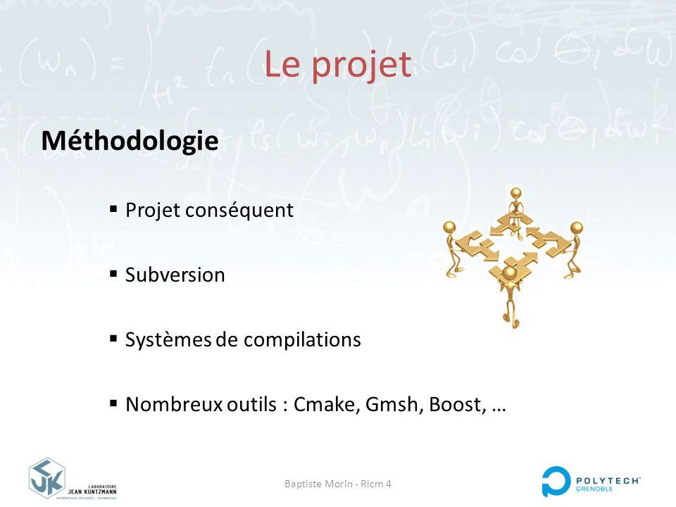 Baptiste Morin - Ricm 4 Le projet Méthodologie  Projet conséquent  Subversion  Systèmes de compilations  Nombreux outils : Cmake, Gmsh, Boost, …
