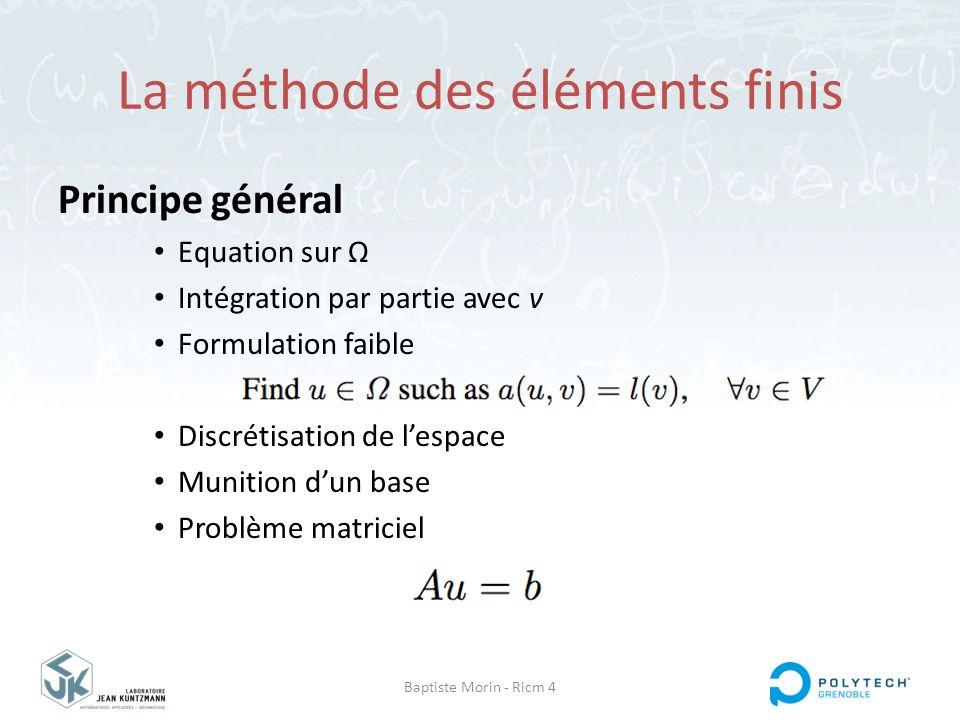 Baptiste Morin - Ricm 4 La méthode des éléments finis Principe général Equation sur Ω Intégration par partie avec v Formulation faible Discrétisation