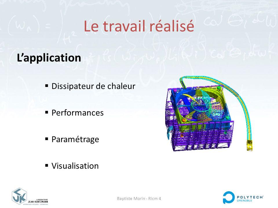 Baptiste Morin - Ricm 4 Le travail réalisé L'application  Dissipateur de chaleur  Performances  Paramétrage  Visualisation