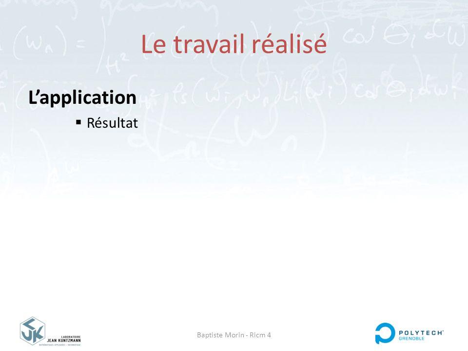 Baptiste Morin - Ricm 4 Le travail réalisé L'application  Résultat