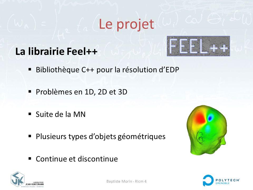 Baptiste Morin - Ricm 4 Le projet La librairie Feel++  Bibliothèque C++ pour la résolution d'EDP  Problèmes en 1D, 2D et 3D  Suite de la MN  Plusi