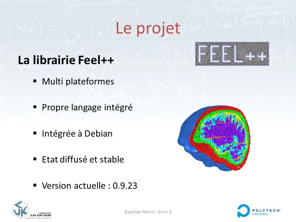 Baptiste Morin - Ricm 4 Le projet La librairie Feel++  Multi plateformes  Propre langage intégré  Intégrée à Debian  Etat diffusé et stable  Vers