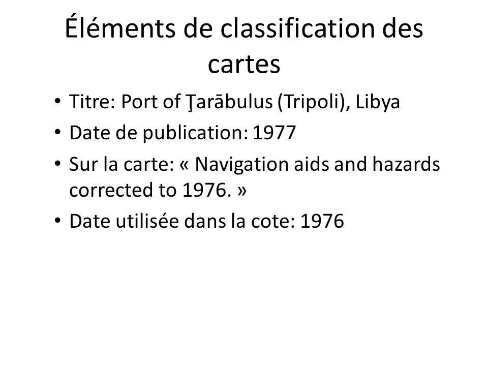 Éléments de classification des cartes Titre: Port of Ţarābulus (Tripoli), Libya Date de publication: 1977 Sur la carte: « Navigation aids and hazards