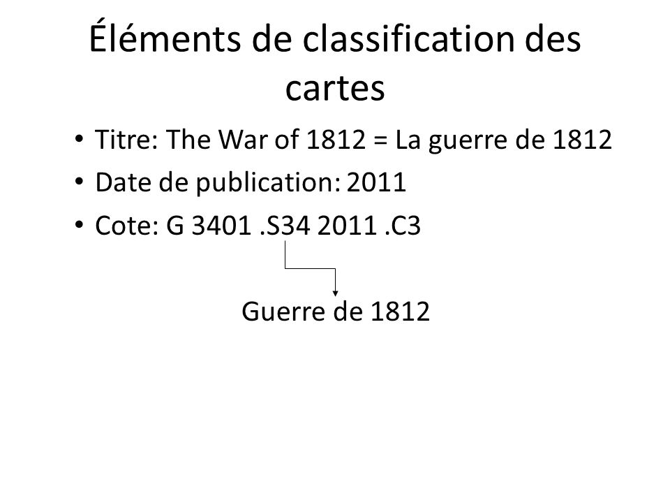 Éléments de classification des cartes Titre: The War of 1812 = La guerre de 1812 Date de publication: 2011 Cote: G 3401.S34 2011.C3 Guerre de 1812