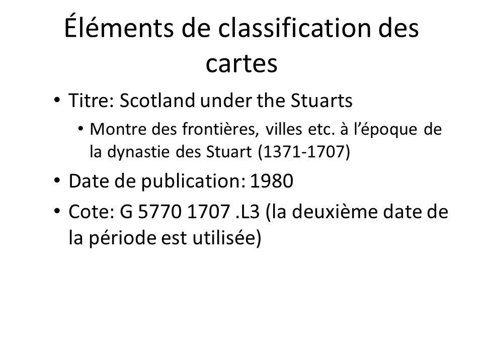 Éléments de classification des cartes Titre: Scotland under the Stuarts Montre des frontières, villes etc. à l'époque de la dynastie des Stuart (1371-
