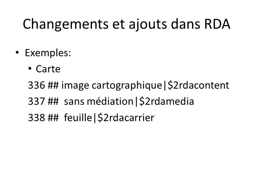 Changements et ajouts dans RDA Exemples: Carte 336 ## image cartographique|$2rdacontent 337 ## sans médiation|$2rdamedia 338 ## feuille|$2rdacarrier