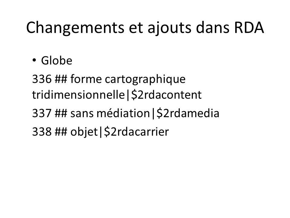 Changements et ajouts dans RDA Globe 336 ## forme cartographique tridimensionnelle|$2rdacontent 337 ## sans médiation|$2rdamedia 338 ## objet|$2rdacar