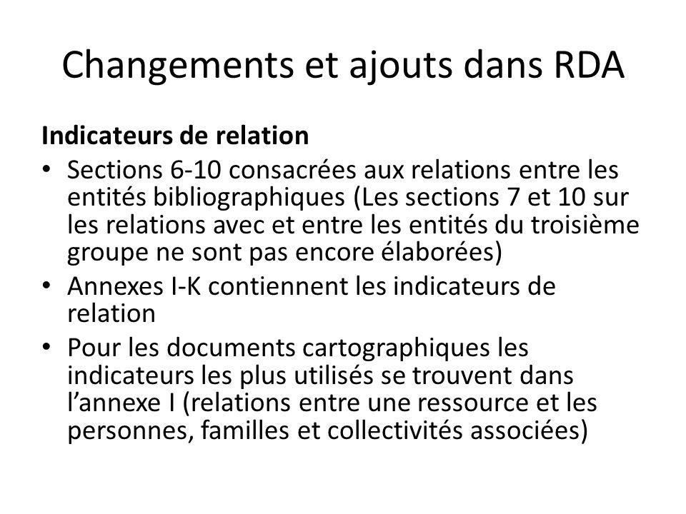 Changements et ajouts dans RDA Indicateurs de relation Sections 6-10 consacrées aux relations entre les entités bibliographiques (Les sections 7 et 10