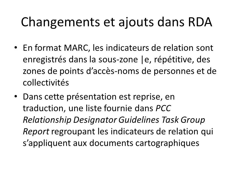 Changements et ajouts dans RDA En format MARC, les indicateurs de relation sont enregistrés dans la sous-zone |e, répétitive, des zones de points d'ac