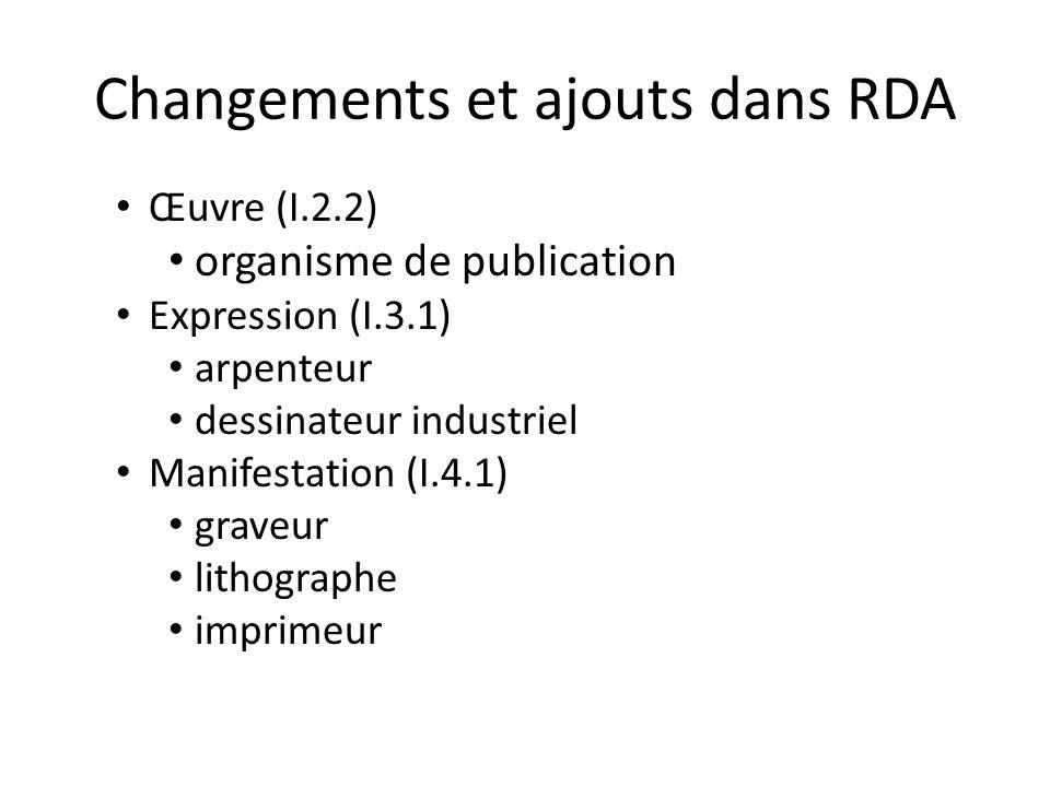 Changements et ajouts dans RDA Œuvre (I.2.2) organisme de publication Expression (I.3.1) arpenteur dessinateur industriel Manifestation (I.4.1) graveu
