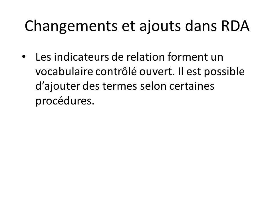 Changements et ajouts dans RDA Les indicateurs de relation forment un vocabulaire contrôlé ouvert. Il est possible d'ajouter des termes selon certaine