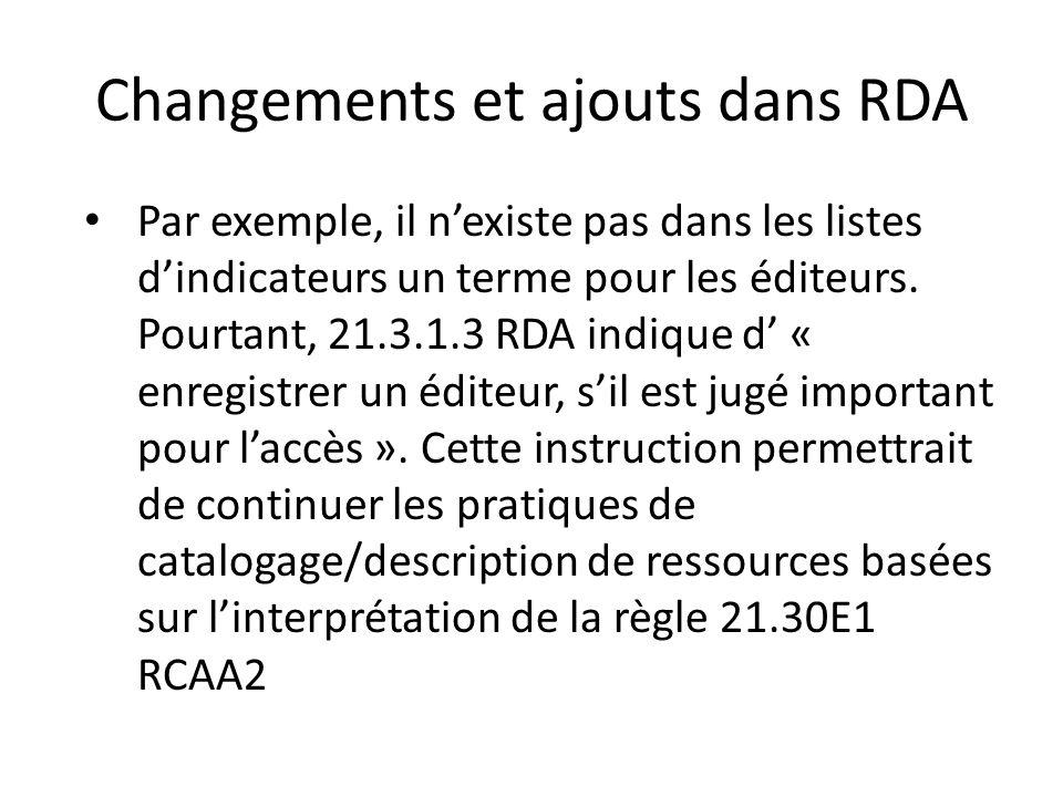 Changements et ajouts dans RDA Par exemple, il n'existe pas dans les listes d'indicateurs un terme pour les éditeurs. Pourtant, 21.3.1.3 RDA indique d