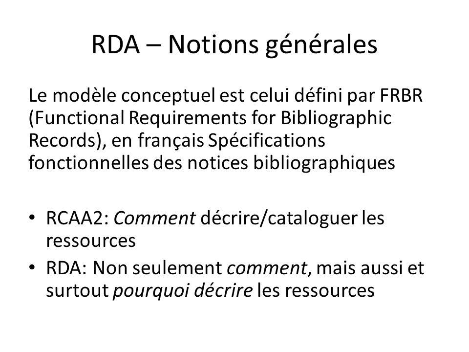 RDA – Notions générales Le modèle conceptuel est celui défini par FRBR (Functional Requirements for Bibliographic Records), en français Spécifications