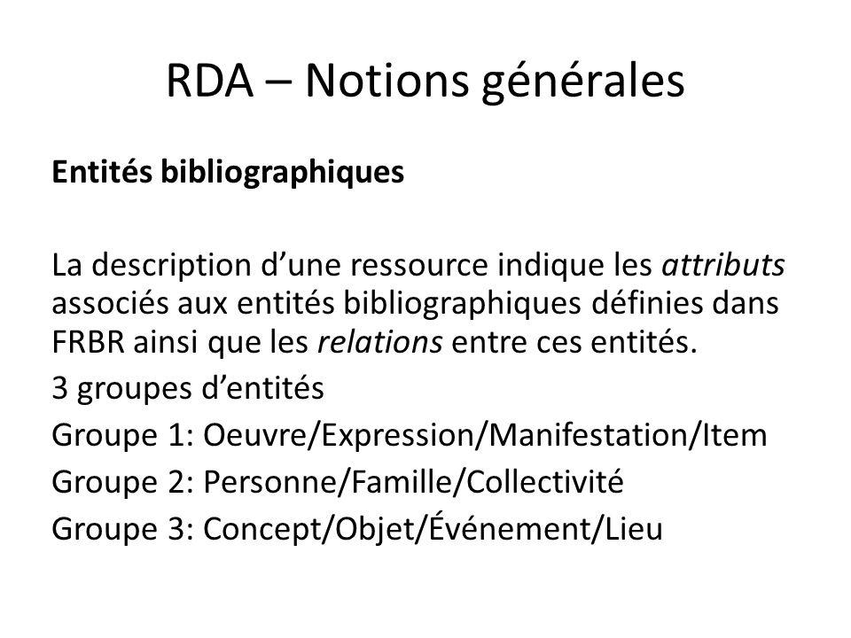 RDA – Notions générales Entités bibliographiques La description d'une ressource indique les attributs associés aux entités bibliographiques définies d