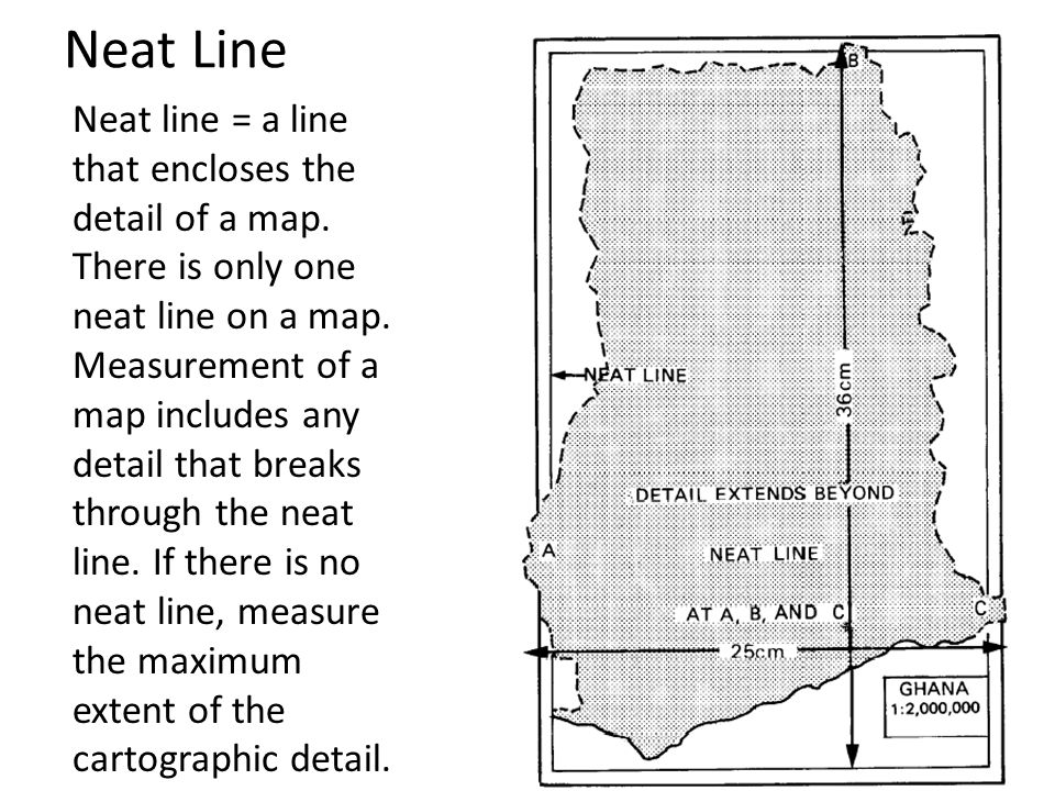 Neat Line Neat line = a line that encloses the detail of a map. There is only one neat line on a map. Measurement of a map includes any detail that br