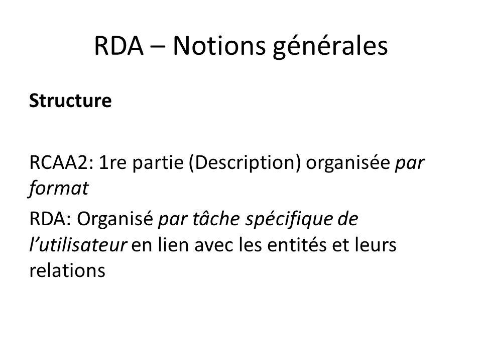RDA – Notions générales Structure RCAA2: 1re partie (Description) organisée par format RDA: Organisé par tâche spécifique de l'utilisateur en lien avec les entités et leurs relations