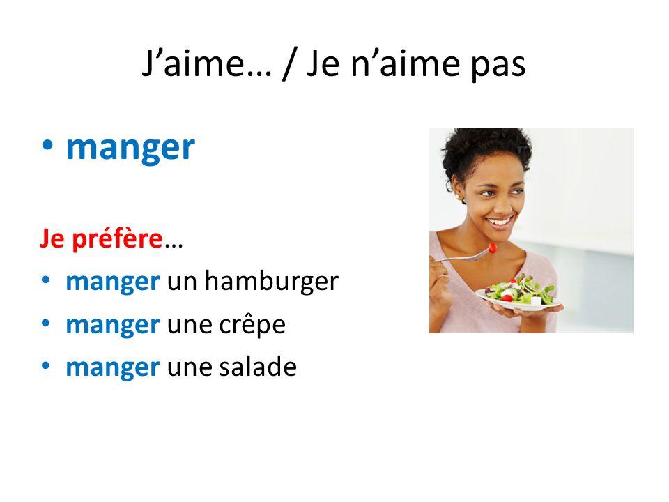 J'aime… / Je n'aime pas manger Je préfère… manger un hamburger manger une crêpe manger une salade
