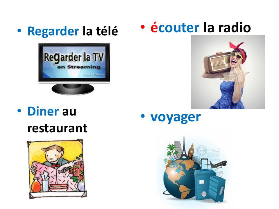 Regarder la télé Diner au restaurant écouter la radio voyager